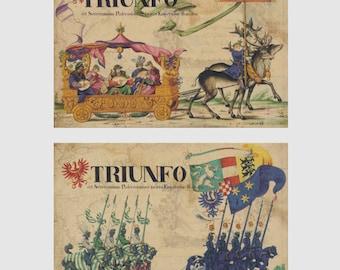 Vintage Style Postcard set TRIUNFO  - 14 Cards,  A030