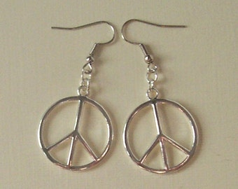 Simple Large Peace Sign Earrings , Silver Peace Earrings , Silver Earrings , CND Earrings , Retro Jewellery , Handmade Jewelry , Hippie