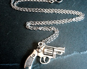 "Silver Hand Gun Pistol Revolver Pendant Necklace on 17"" Stainless Flat Cable Steel Chain"