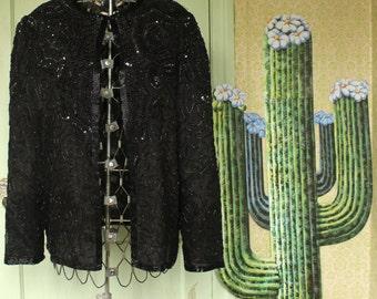 Vintage Black Beaded/Sequin Cardigan - 1990's - Size Medium