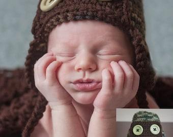 Newborn Camo Aviator Hat (Ready to Ship)