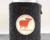Upcycled, Handmade Pure Wool Felt Slate Grey Mason Jar Cozy