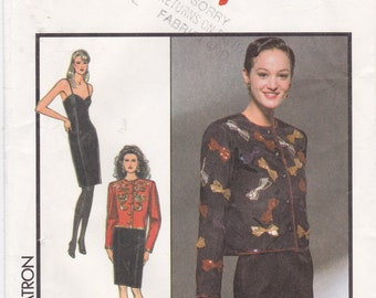 Uncut Style Sewing Pattern 1460 Misses' Fitted Shoulder Strap Sweetheart Neckline Dress and Jacket Size 10 Bust 32.5