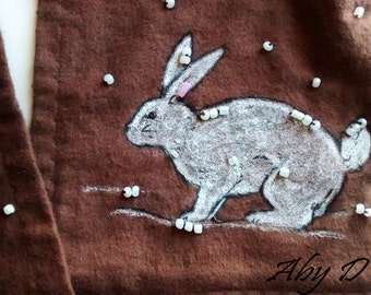 Sale! Rabbit - Unique scarf decorated by hand. We use specialized pens, buttons, pearls and hand-embroidery.