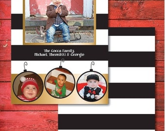 Striped Photo Christmas Card