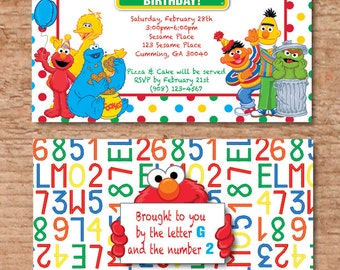Sesame Street Invitation With Your Child's Picture