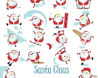 Santa Claus Digital Clipart Christmas Clipart Scrapbooking Invitations Printable Digital Graphics Commercial Use INSTANT DOWNLOAD 300 dpi