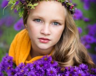 Wreath colors of autumn, flower head wreath, floral head wreath, headband, fairy wreath, flower wreath, flower hair crown, wedding wreath
