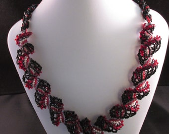 Embellished Black and Red Dutch Spiral Necklace with Earrings