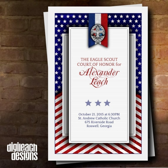Eagle Scout Court of Honor Program Cover: Patriotic Flag