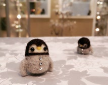 Needle Felted Baby Penguin Pin, Felted Penguin Magnet, Felted Penguin Brooch, Miniature Penguin