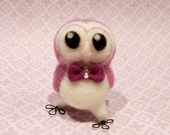 Needle Felted Owl with Bow, Felt Owl, Felted Miniature Owl