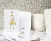 Gold Evening Gown Fashion Greeting Card - 4x6 Greeting Card - Fashion Illustration Card