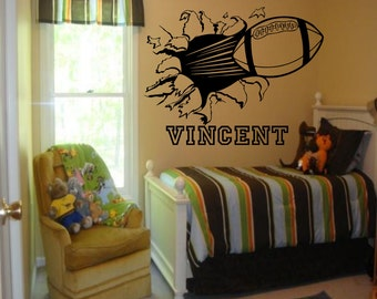 Custom Football Bursting Through Wall Decal - Custom Sports Decal, football decal, custom wall decals, football wall decal, football burst