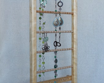 Wooden Jewelry Display Organizer Holder, stand for earrings, bracelets and necklaces,  samba wood
