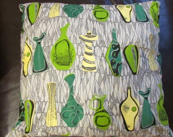 1950s-inspired V&A 'Vases' green and yellow fabric cushion