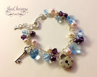 Beautiful Blue Floral Swarovski Heartlinked Sterling silver Charm Bracelet