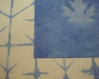 Hand dyed fabric - Blues - heliographic print and shibori style Set