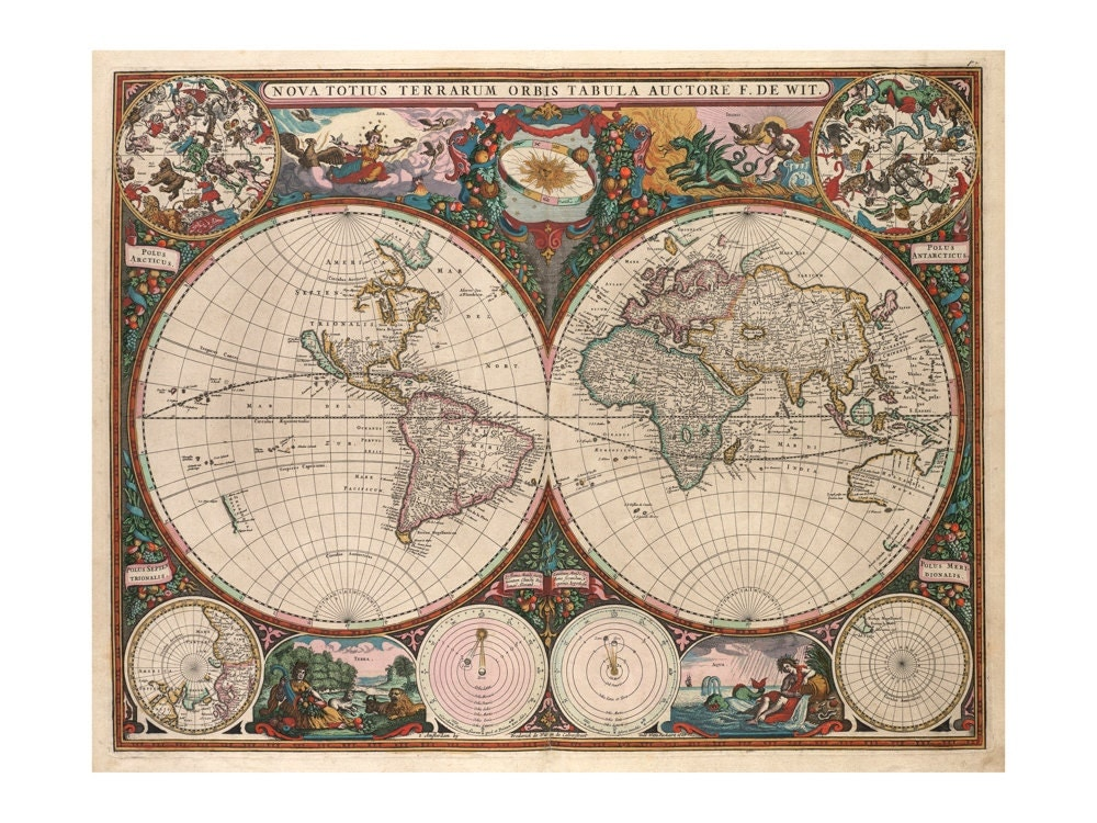 De wit 39 s map of the world antique wall decor vintage for Antique world map wall mural