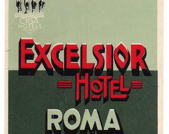 Genuine 1930s-'40s Original Unused  Luggage Steamer Trunk  Label Hotel Excelsior Rome