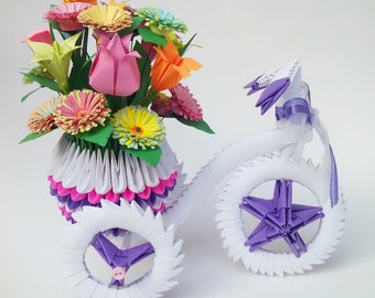 3d Origami Tricycle, 3d Origami Tricycle with a Pot, 3d Origami Flower Pot, 3d Origami Flower Vase, Paper Tricycle, Origami Tricycle