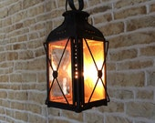 Vintage Rustic Antique French Railway Light Candle Coach Lantern Old Hanging Candle Holder Pendant Retro Victorian