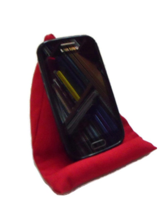 red mobile phone cushion phone holder phone stand i pod cushion deep red fabric weighted cushion