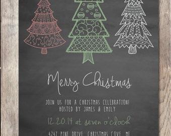 Christmas Party Invitation, Printable Christmas Invitation, Christmas Tree, Chalkboard Christmas Invitation, Christmas Party Invitation