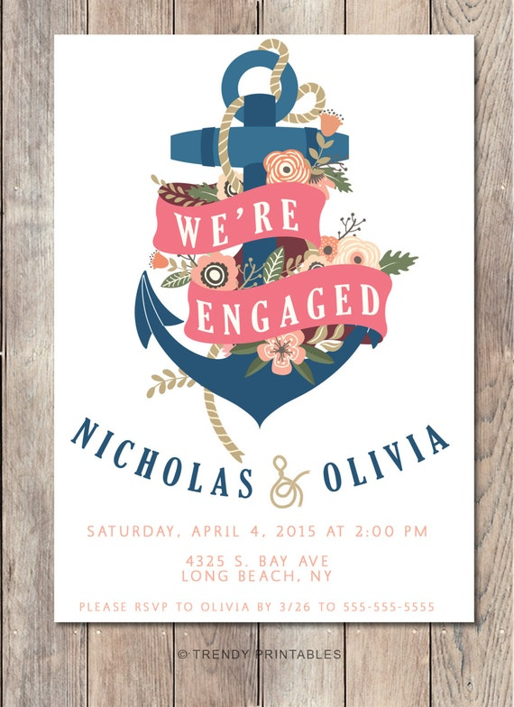 Engagement Party Invitation, We're Engaged, Nautical Engagement Party Invitation, Anchor Engagement Party Invitation, Floral Engagement