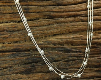 Triple Strand Pearl Necklace, Graceful, Wedding Jewelry,Bridal,Bridesmaid Gift, 925 Sterling Silver,Stera Jewelry Y689