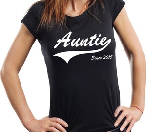 Auntie Since 2015 T-Shirt Gift For Aunt Tee Shirt Woman Top