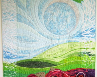 "Original one of Art Quilt: Daughter of Neptune / Day-dreaming   33.5"" x 39""  (85cm x 99cm) Wallhanging"