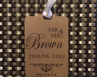 Wedding Thank You Tags -Personalized Wedding Favor Tags- Mr. & Mrs.