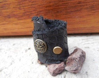 1+1 Leather Ring, handmade ,