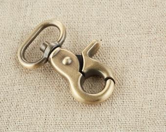 2Pcs  15mm inner size Swivel Clasps Hook/ Lobster Claws Swivel Hooks / Antique Brass / Snap Hook