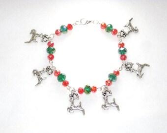Red Bracelet, Christmas Bracelet, Xmas Bracelet, Reindeer Bracelet, Winter Find, Christmas, Holiday trend