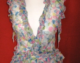 15% off *VERSACE wrap blouse with ruffles # colour bubbles # transparent silk # sz S