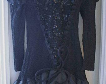 Black evening dress sequins and skirt puff t36