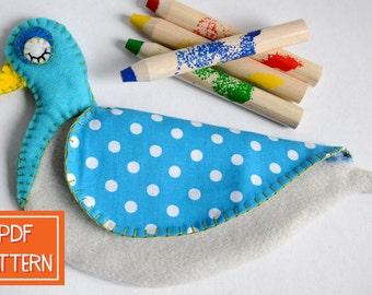 Pencil Pouch | Pigeon Pencil Case PDF Sewing Pattern | Crayon Holder, Child Gift Pattern, Kids DIY Gift, PDF Toy Pattern, Pdf Purse Pattern