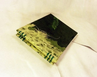 Lined Wedding Guest Book Leaf Fern Forest Green Natural Lined Guest Book Coptic Stitch