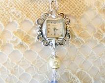 Vintage Watch Necklace, Filigree Charm Pendant , Birds, Blue Czech Crystal Bead, Silver Chain, Antique Ladies Caravelle Watch Face Necklace
