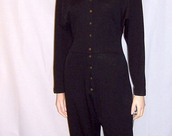 Stylish 1980's Black Jumpsuit with Snap Collar and Closures