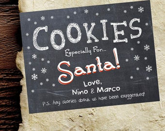 """Cookies for Santa Chalkboard Kids Sign.  Funny Rustic Christmas Holiday Decorations /Decor. 8.5x11"""" Customizable with your child's name!"""