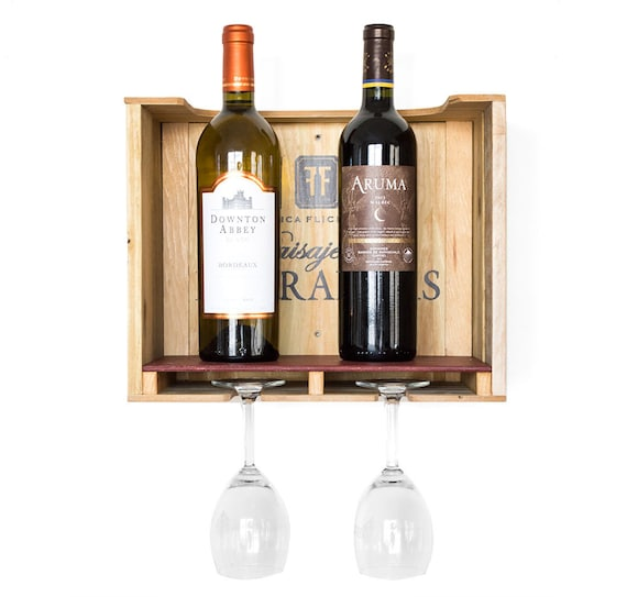 Rustic wood wine rack wood wine box wine by bydadanddaughter for Small wine crates
