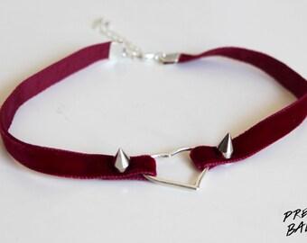 Velvet Heart Choker burgundy