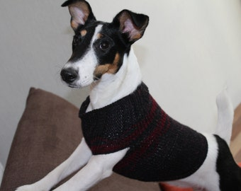 Hand Knit Dog Jumper, Sleevless Cat Sweater, Black with Red Decoration, Warm Pet Pullover, Man knit