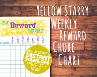 Printable Weekly Rewards & Chore Chart - Kids Reward Chart - A4 and US Letter - Digital Download PDF