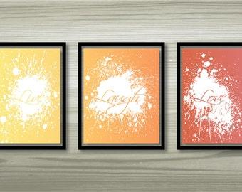 "Set of 3 printable wall art ""Live"", ""Laugh"" and ""Love"" - 8""x10"""