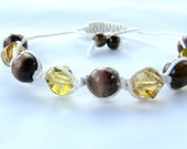 NEW Trendy Shamballa Style Bracelet With Yellow Crystals & Brown Wooden Beads