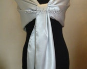 Large Satin Shawl  Wrap  Stole  Bolero  Shrug   WeddingBridalFormal Colours  Ivory black white  light silver  grey